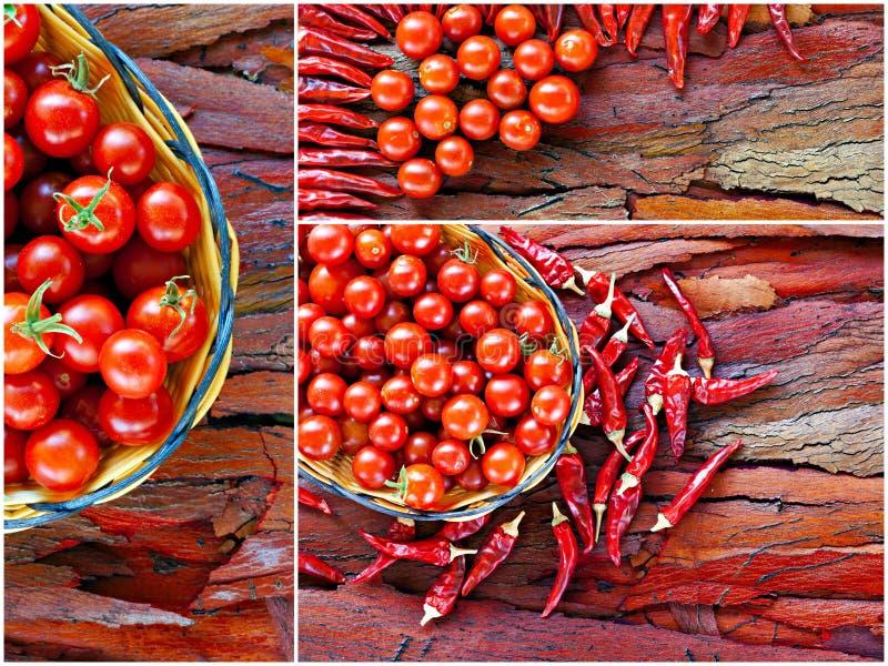 Collage de tomate-cerise et de poivrons de piments photos libres de droits