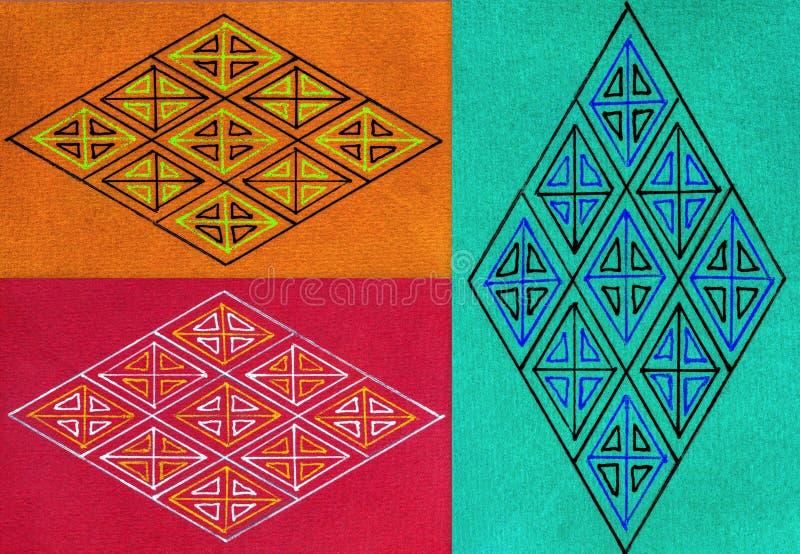 Collage de tres diamantes stock de ilustración
