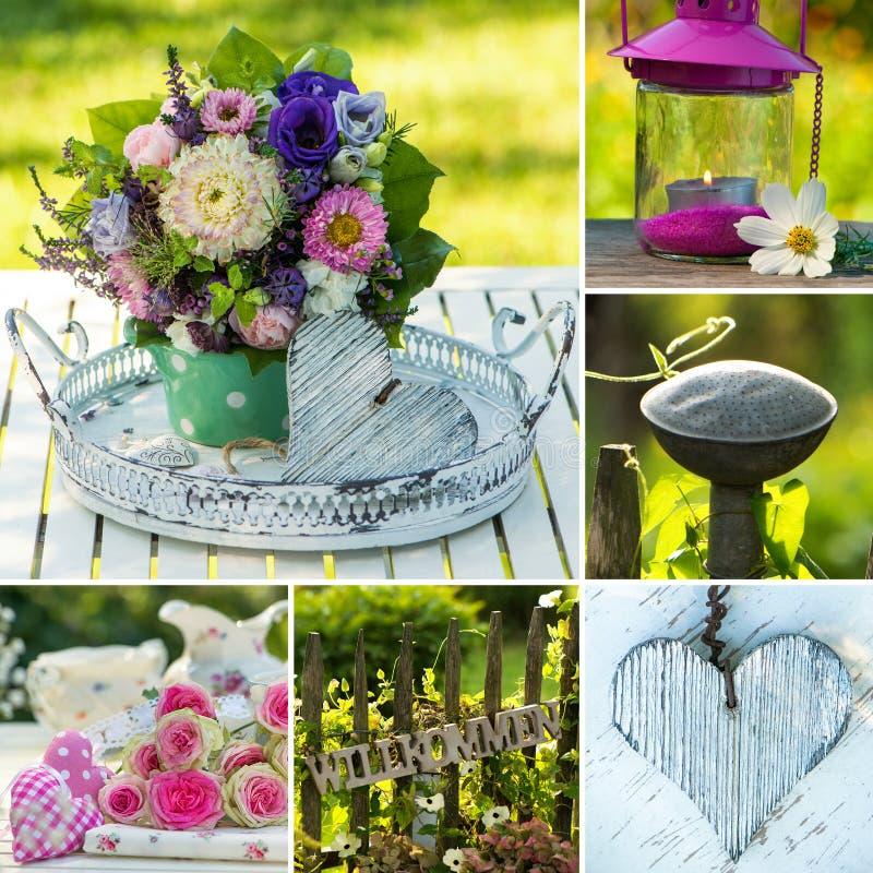 Collage de trois images de bouquet de fleur images stock