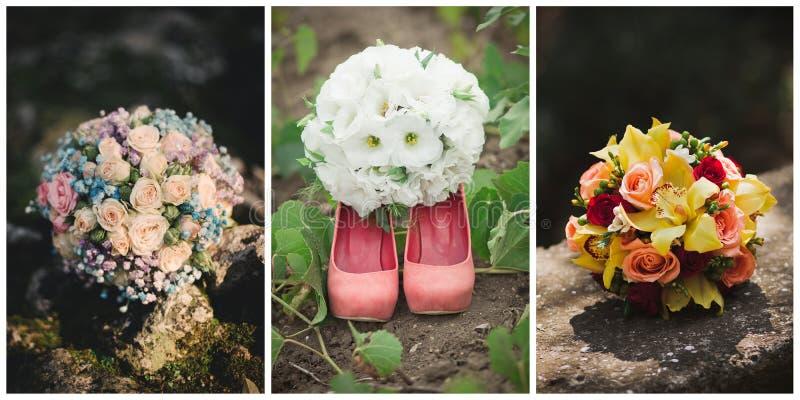 Collage de trois photos de bouquet de mariage images libres de droits