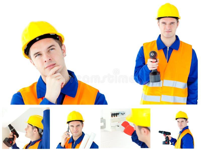 Collage de un contratista joven foto de archivo libre de regalías