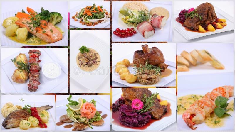 Collage de una comida de cena fina fotos de archivo libres de regalías