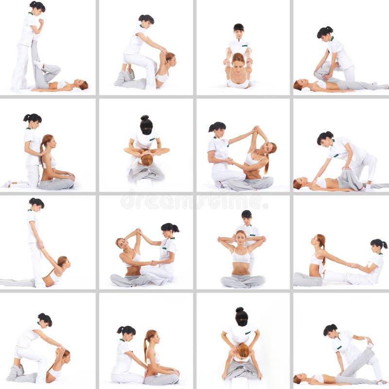 Collage de una mujer en un procedimiento tailandés del masaje imagen de archivo libre de regalías