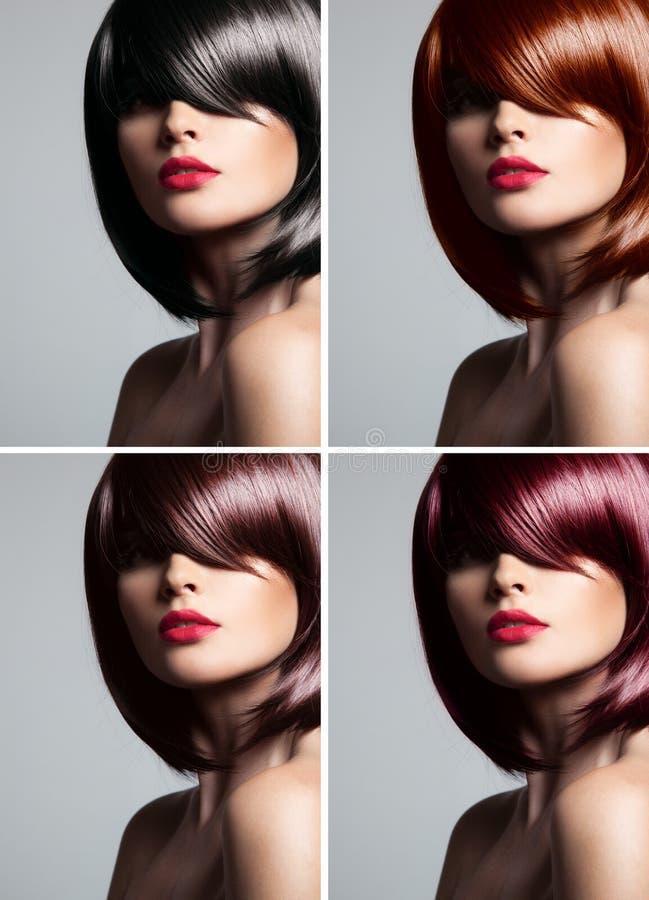 Collage de una mujer hermosa con el pelo mezclado del color imágenes de archivo libres de regalías