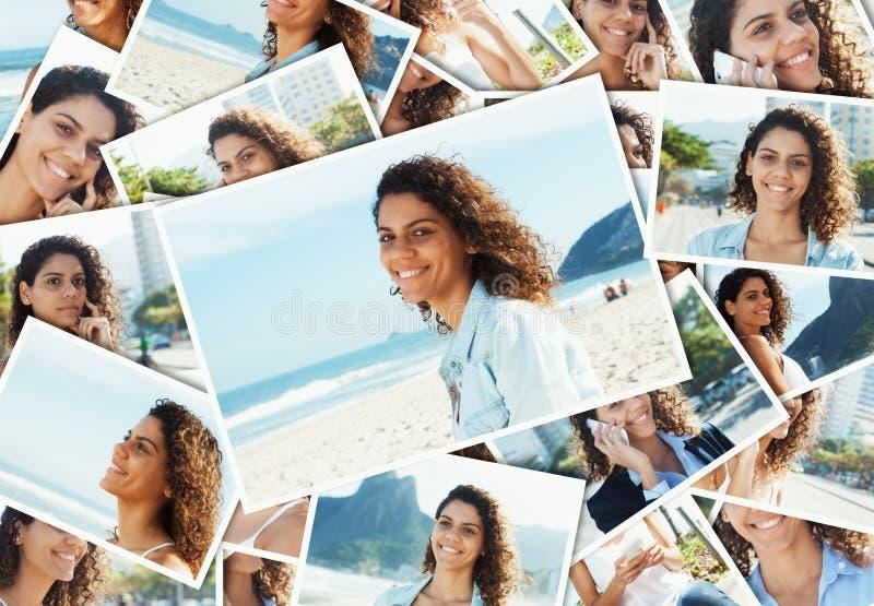 Collage de una mujer latina de risa en la playa foto de archivo libre de regalías