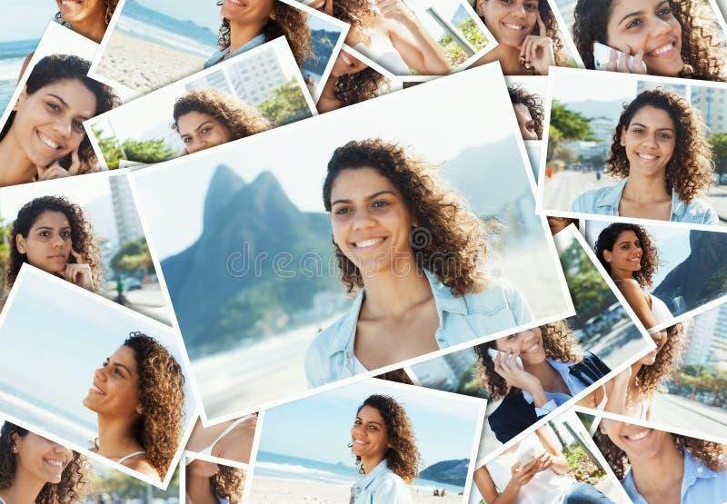 Collage de una mujer latina de risa en Rio de Janeiro fotografía de archivo libre de regalías