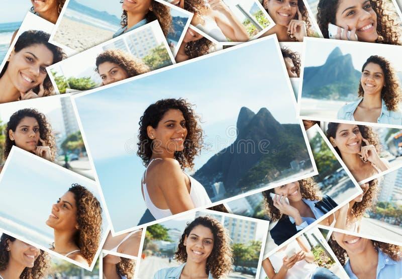 Collage de una mujer latina joven en Rio de Janeiro fotografía de archivo libre de regalías