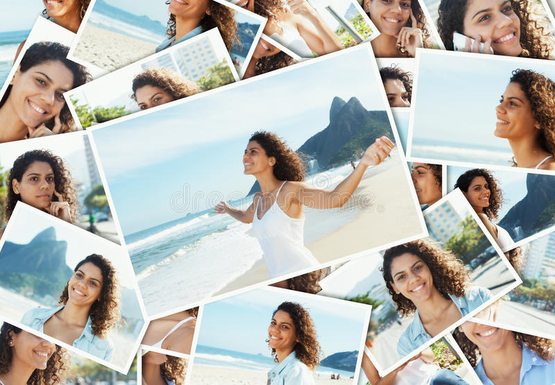 Collage de una mujer latina relajante en Rio de Janeiro imagen de archivo libre de regalías