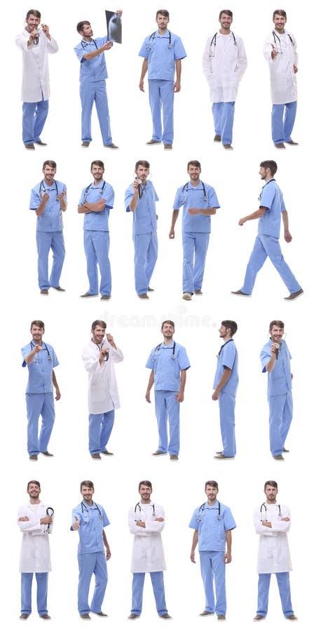 Collage de una variedad de médicos que se colocan en fila imagen de archivo libre de regalías
