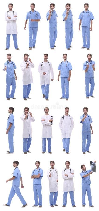 Collage de una variedad de médicos que se colocan en fila imagenes de archivo
