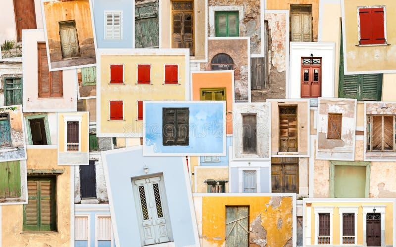 Collage de vieilles r?tros portes et fen?tres photo stock