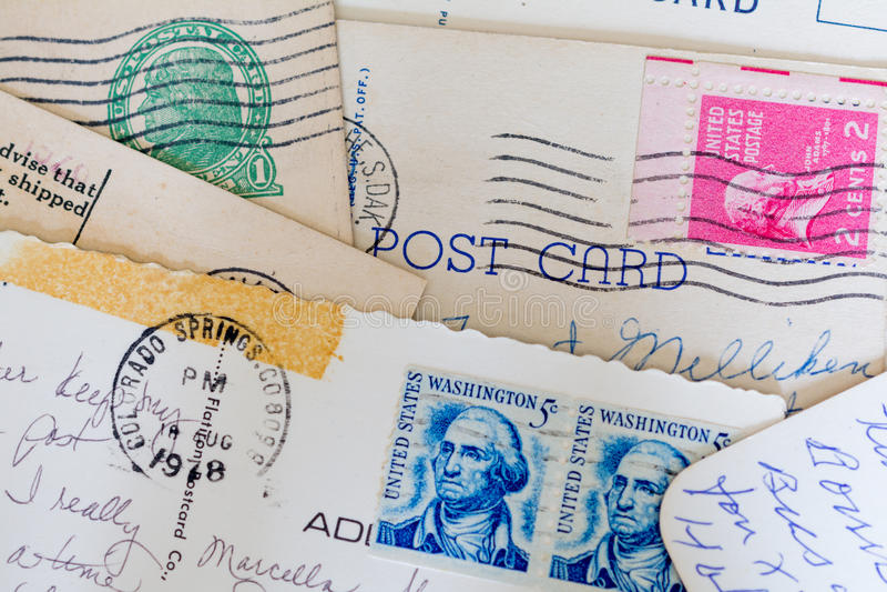 Collage de viejos postales y sellos fotografía de archivo libre de regalías