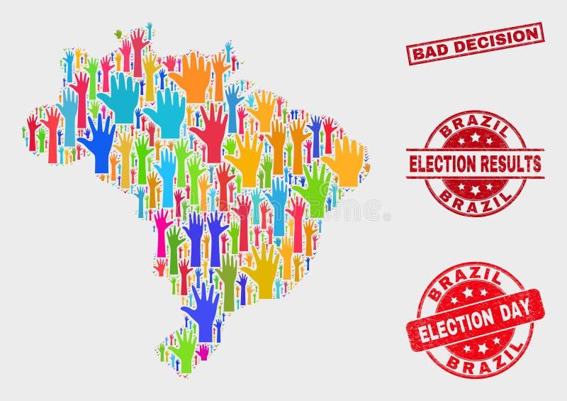 Collage de votar el mapa del Brasil y el mún sello de la decisión del Grunge stock de ilustración