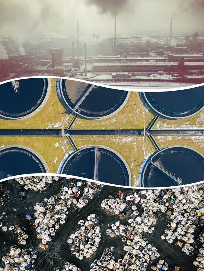 Collage de vue aérienne sur l'activité et la pollution industrielles Fond de concept Silhouette d'homme se recroquevillant d'affa images stock
