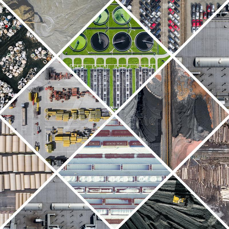 Collage de vue aérienne sur l'activité et la pollution industrielles Fond de concept Silhouette d'homme se recroquevillant d'affa images libres de droits