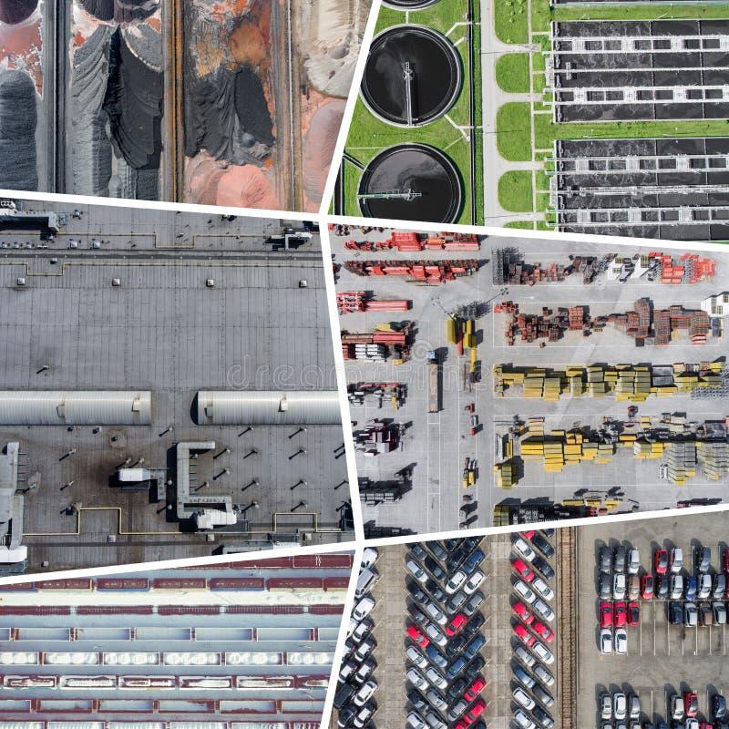 Collage de vue aérienne sur l'activité et la pollution industrielles Fond de concept Silhouette d'homme se recroquevillant d'affa photographie stock