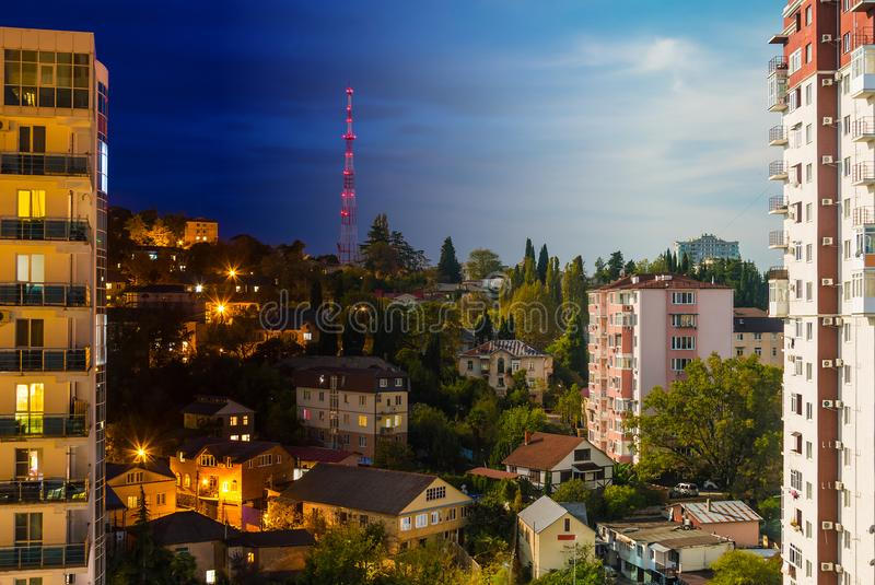 Collage de vue de nuit et de jour de Sotchi, Russie images stock