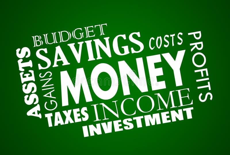 Collage de Word de finances de budget de l'épargne d'argent illustration de vecteur
