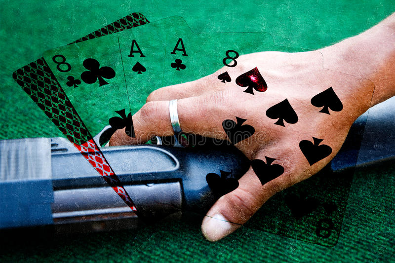 Collage dead mans hand of poker cards. The dead mans hand is a hand of two pair, (black aces and eights) plus unknown hole card. These were the cards held by stock photo