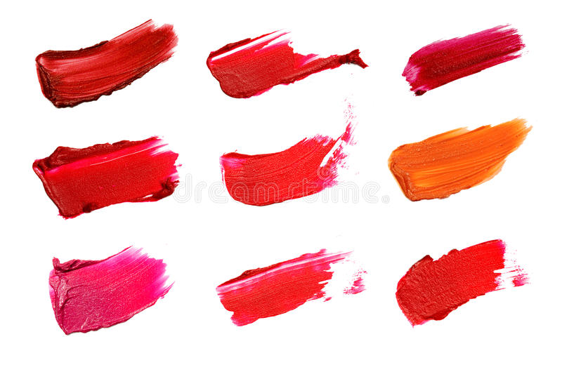 Collage of decorative cosmetics color brush lipstick strokes on white background. Beauty and makeup concept.  stock image
