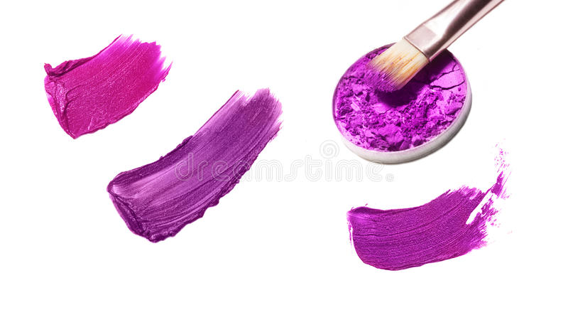 Collage of decorative cosmetics on white background. Beauty and makeup concept.  stock image