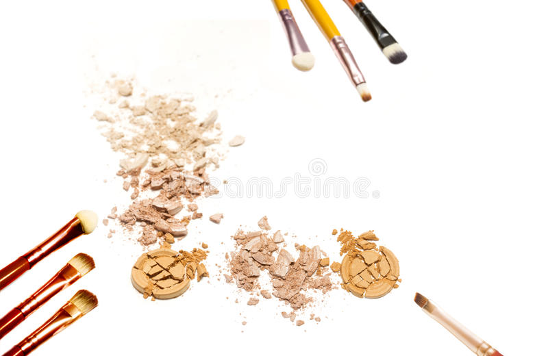 Collage of decorative cosmetics on white background. Beauty and makeup concept.  stock photography