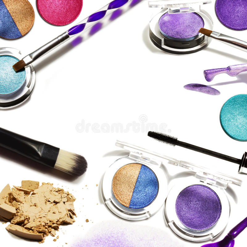 Collage of decorative cosmetics on white background. Beauty and makeup concept.  royalty free stock image