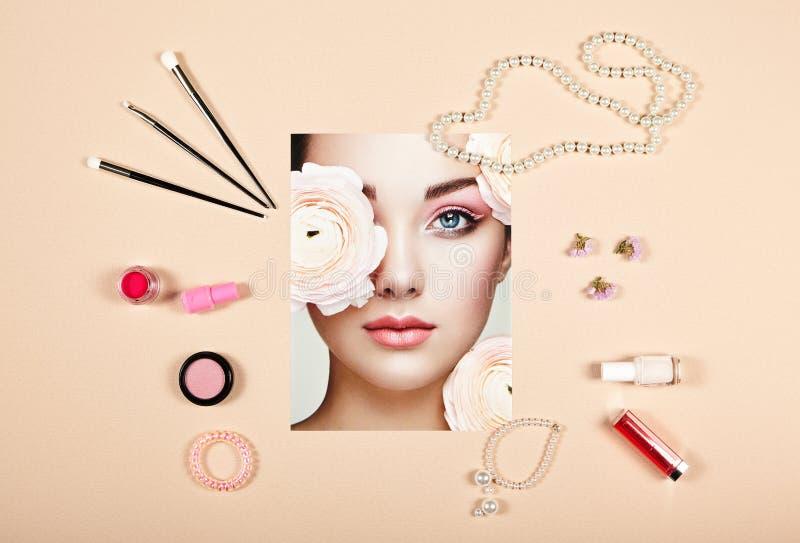 Collage degli accessori di signora di modo immagine stock