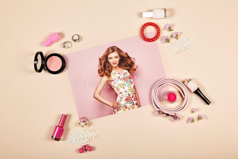 Collage degli accessori di signora di modo fotografia stock libera da diritti