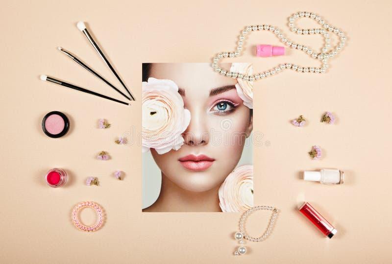 Collage degli accessori di signora di modo fotografie stock