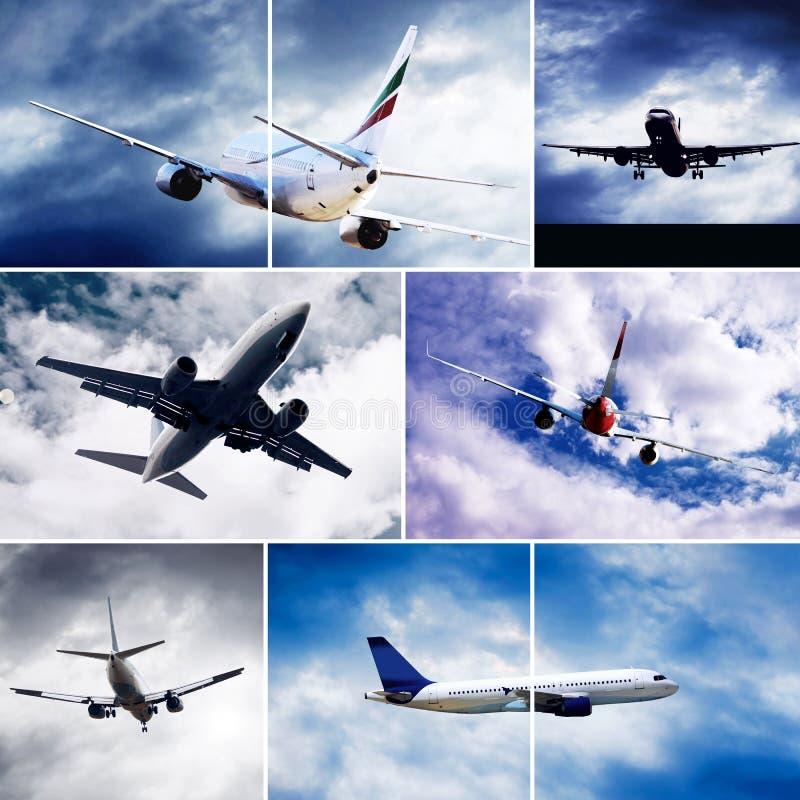 Collage degli aeroplani fotografia stock