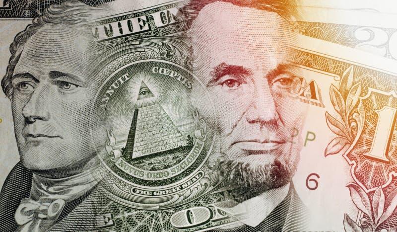 Collage degli elementi delle banconote in dollari fotografia stock