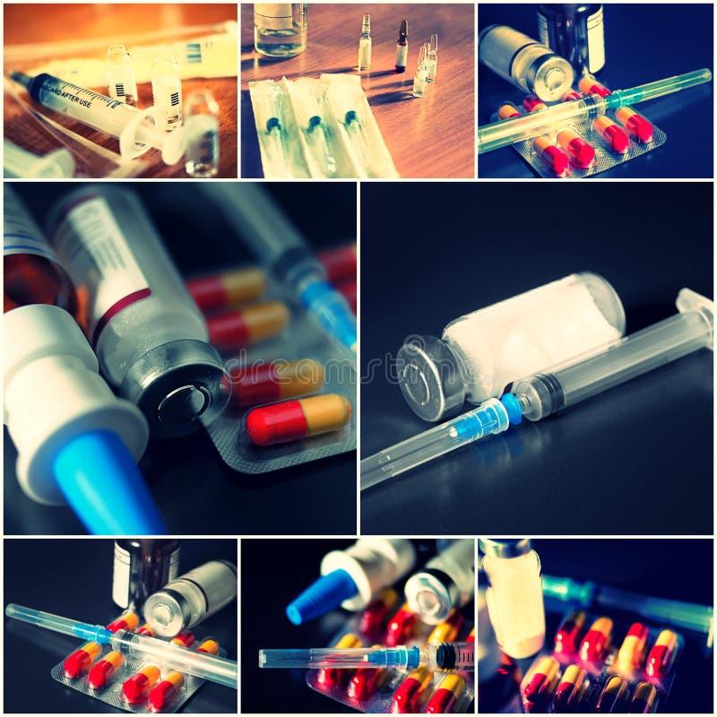 Collage degli oggetti medici Ampolle, pillole, siringa fotografie stock libere da diritti