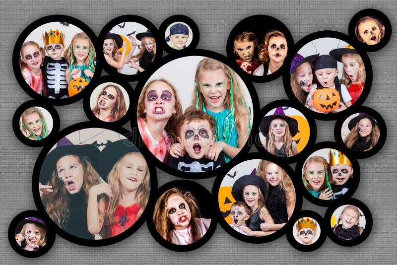 Collage dei bambini felici sul partito di Halloween fotografia stock libera da diritti