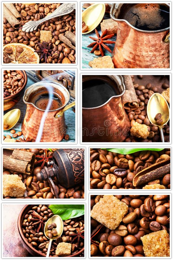Collage dei chicchi di caffè immagine stock libera da diritti