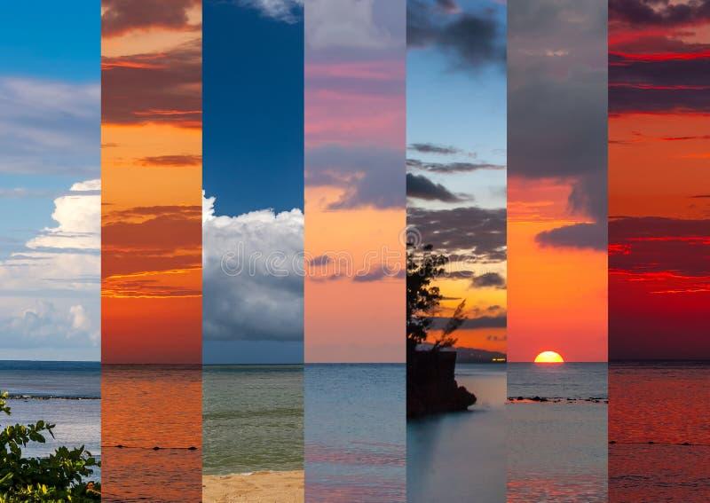 Collage dei colpi del mare nel tempo di tramonto fotografie stock libere da diritti