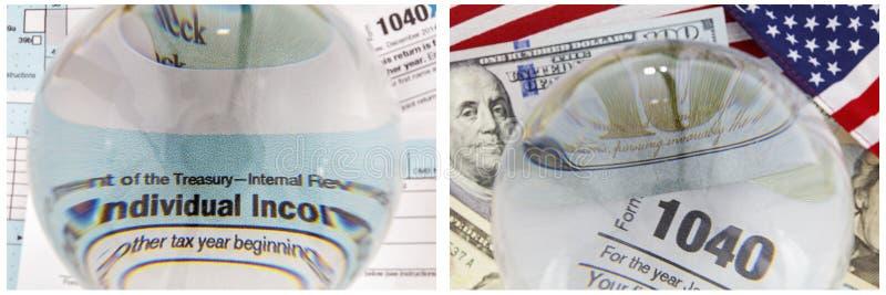 Collage dei contanti della bandiera delle forme di IRS 1040 di patriottismo immagine stock