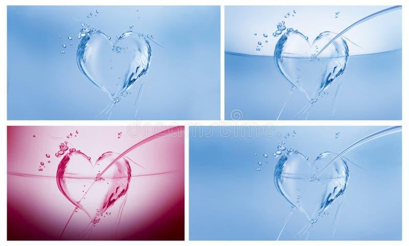Collage dei cuori dell'acqua fotografia stock