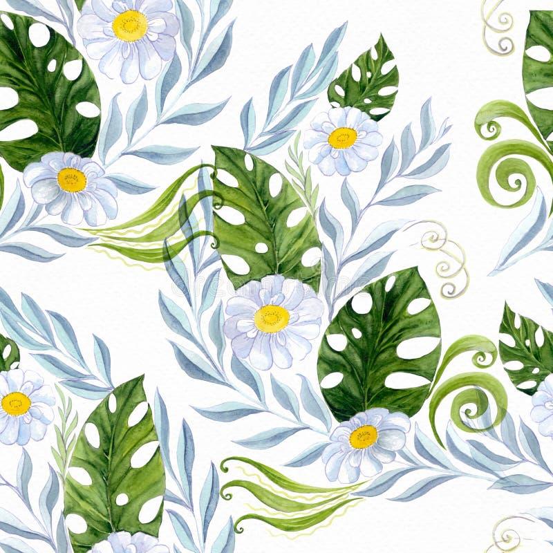 Collage dei fiori, foglie su un fondo dell'acquerello Composizione decorativa watercolor Reticolo senza giunte royalty illustrazione gratis