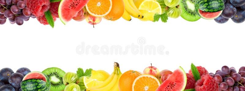 Collage dei frutti misti Frutti freschi di colore immagine stock