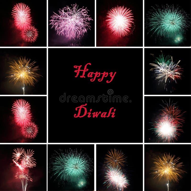 Collage dei fuochi d'artificio per la celebrazione del festival Diw immagine stock