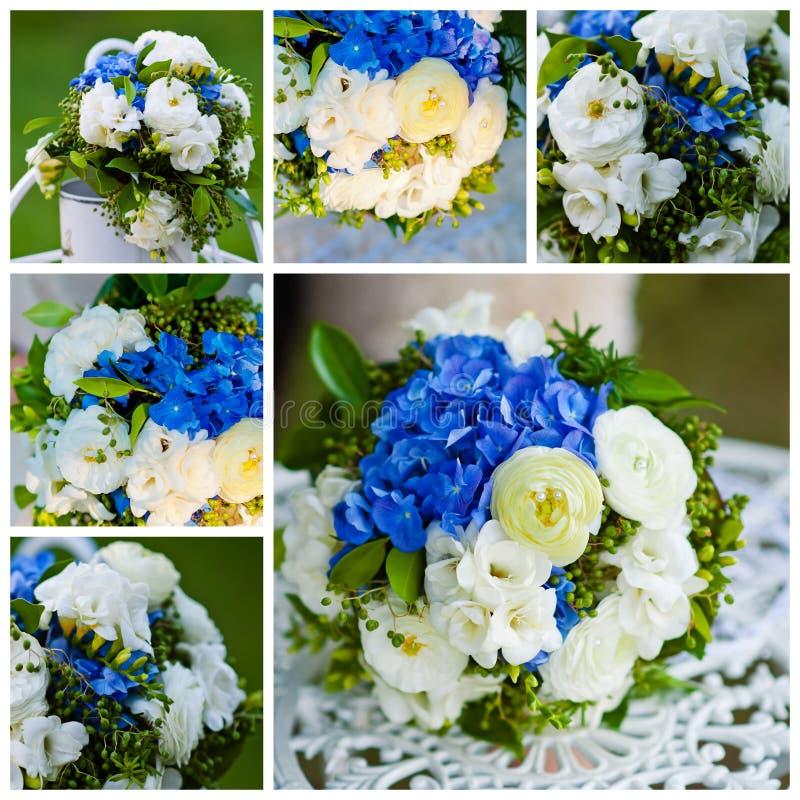 Collage dei mazzi di nozze nello stile blu immagini stock