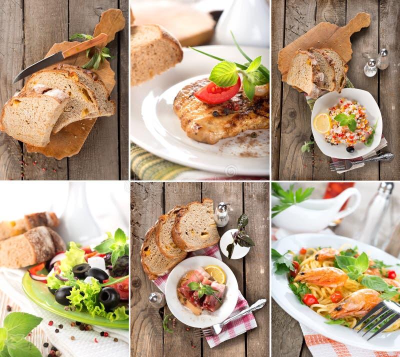 Collage dei piatti pronti immagine stock