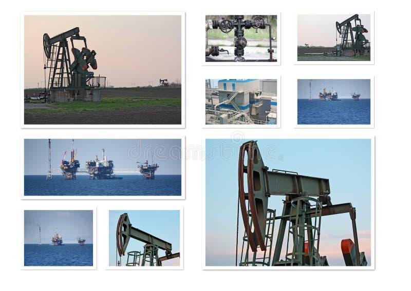 Collage dei pozzi di petrolio fotografia stock
