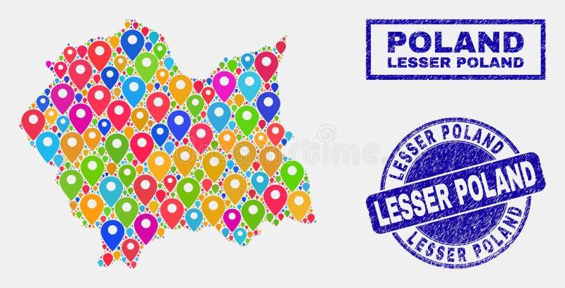 Collage dei puntatori della mappa di Lesser Poland Voivodeship Map e dei bolli graffiati illustrazione di stock
