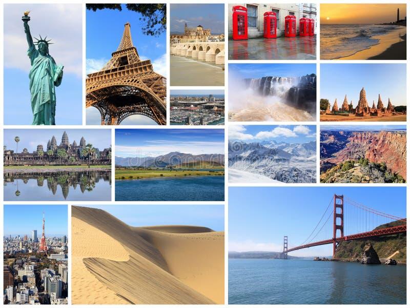Collage dei punti di riferimento del mondo fotografie stock libere da diritti
