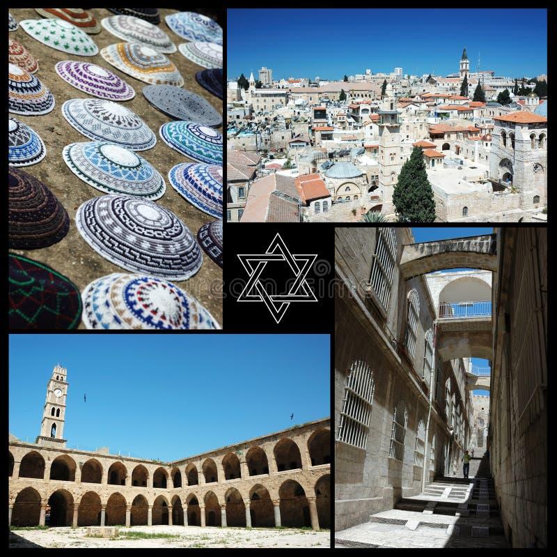 Collage dei punti di riferimento di Israele, un paese di tre religioni principali del mondo fotografie stock
