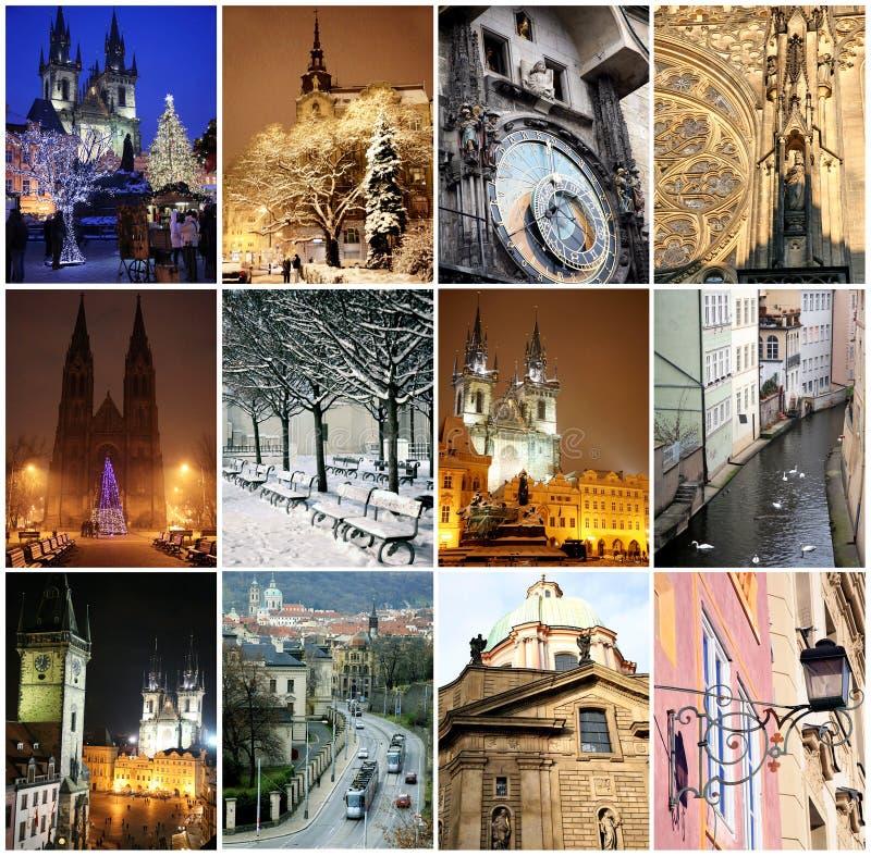 Collage dei punti di riferimento a Praga fotografia stock libera da diritti