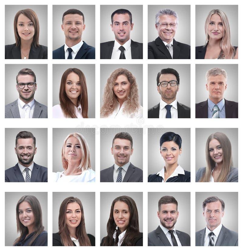 Collage dei ritratti di giovani uomini d'affari e donna di affari immagini stock libere da diritti