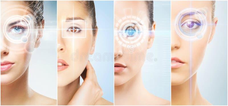 Collage dei ritratti femminili con gli ologrammi immagine stock